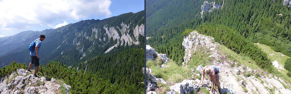 Hiking Piatra Craiuli, a narrow limestone ridge, heading toward Varful La Om, the highest peak in Romania.